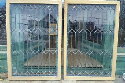 Pair Large Victorian Leaded Windows W Stained Glass Borders