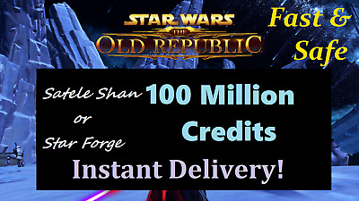 SWTOR 100 Million Credits -NA Server - Star Wars The Old Republic - 100m Mail