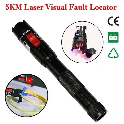 5mW 5KM Fiber Optic Light Laser Source Cable Fault Locator Finder Tester Check G