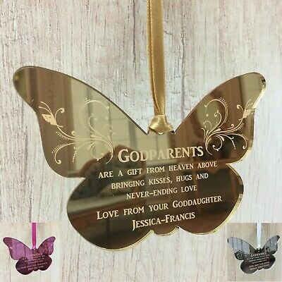 Godparents Christmas Gift Butterfly Personalised Godmother Godfather Godson Sign