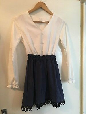 Ladies White And Navy Dress Small