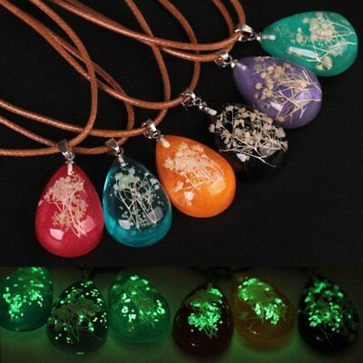 Glow In The Dark Dried Flower Waterdrop Stone Pendant Necklace Jewelry Gift Hot