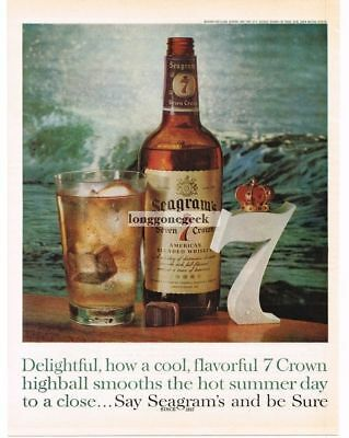1961 SEAGRAM'S 7 Whiskey Highball By The Sea Ocean Vtg Print Ad