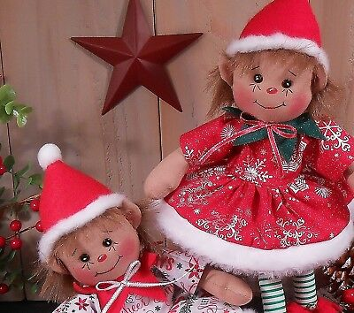 Primitive Raggedy Christmas Elf Girl Doll Holiday Decor Craft Paper Pattern #110