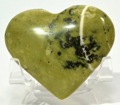 """2.3"""" 80g Natural Green Serpentine w/ Pyrite Crystal Palm Stone Heart from Peru"""
