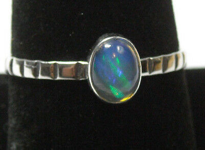 Handmade Natural Blue Fire Opal Solid Sterling 925 Silver Ring Size 9.5