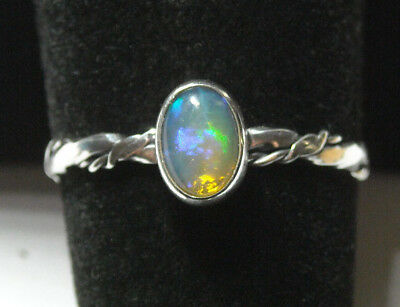 Handmade Twisted Band Natural Fire Opal Solid Sterling 925 Silver Ring Size 9.5