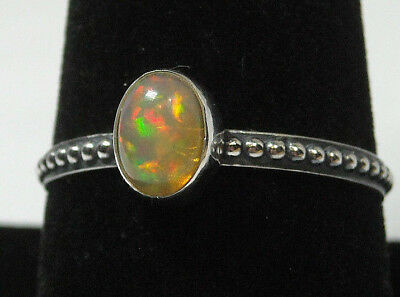 Handmade Colorful Natural Fire Opal Solid Sterling 925 Silver Ring Size 9.5