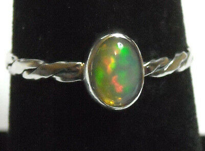 Handmade Twisted Band Natural Fire Opal Solid Sterling 925 Silver Ring Size 7