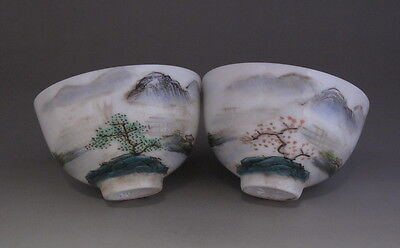 Pair of Nice Chinese Famille Rose Porcelain cups w landscape