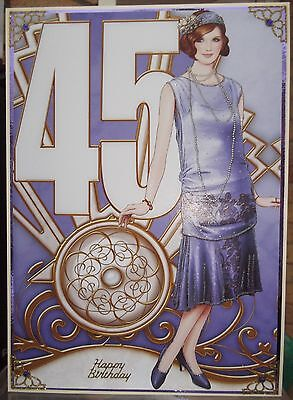 HANDMADE MARKED DOWN ART DECO 45th BIRTHDAY CARD FASHIONABLE LADY IN LILAC