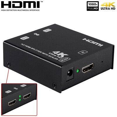1x2 HDMI Splitter with 4K Upscaling 1080P To 4K UHD Scaler 3D HDCP Deep Color