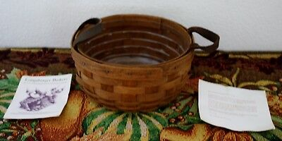 """LONGABERGER 1993 6 1/2"""" Round BASKET with Leather Handles"""