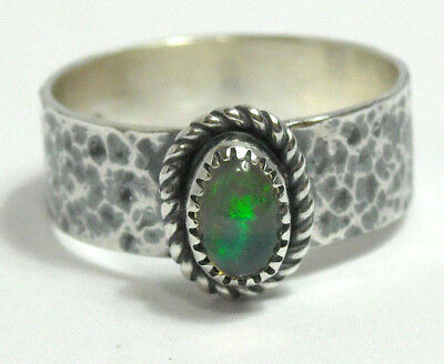 NEW Handmade Natural Fire Opal Wide Band Solid Sterling 925 Silver Ring Size 6
