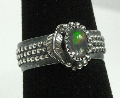 NEW Bead Leaf Handmade Natural Fire Opal Solid Sterling 925 Silver Ring Size 6.5