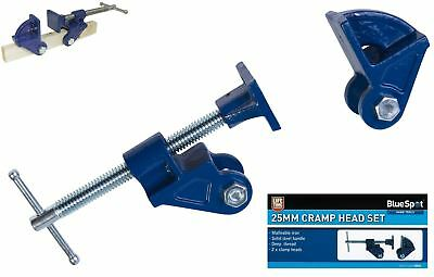 BlueSpot 25mm Adjustable Malleable Iron Jaw Clamp Head Set Woodworking Clamps