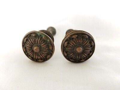 Pair Vintage Brass Knobs Ornate Furniture Hardware Reclaimed Dresser Night Stand