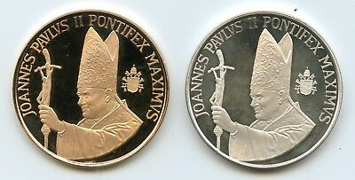 Genuine Gold & Silver Vatican Pope John Paul II Proof Medals | 8 g Each