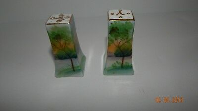 Antique Hand Painted Salt And Pepper Shakers Made In Japan Tree Landscape