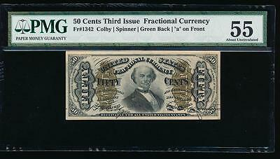 AC Fr 1342 $0.50 fractional 3rd issue PMG 55/c green back 'a' on front SPINNER!