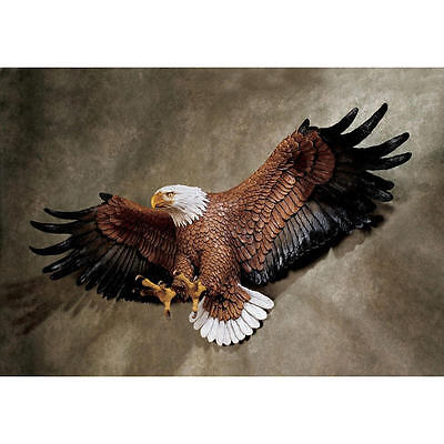 "Freedom's Pride American Eagle Hand Painted Design Toscano 31"" Wall Sculpture"