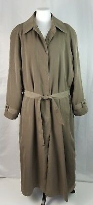 Vintage Sequence L Taupe Belted Rain Coat Detachable Wool Blend Lining Pockets