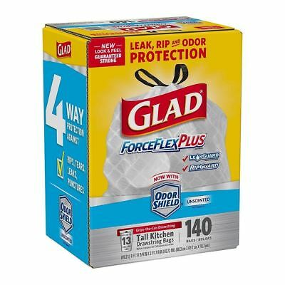 Glad ForceFlexPlus Tall Kitchen Drawstring Trash Bags Unscented 13 Gallon 140 Ct