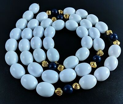 MONET Vintage Milk Lapis Lazuli and Gold Colored beaded  necklace