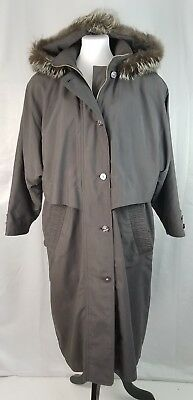 VTG Apropos 8 M Gray Belted Rain Coat Detachable Quilted Lining Fur Hood Pockets