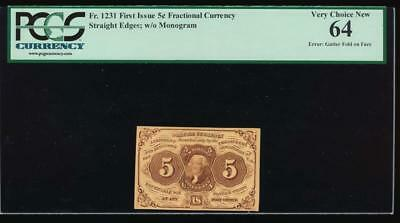 AC Fr 1231 $0.05 1862 fractional 1st issue PCGS 64 no surcharge, ERROR!
