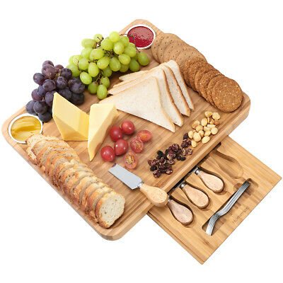 Wood Bamboo Cheese Board Serving Cutting Platter Tray with Cutlery Set 13Pcs