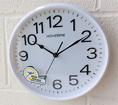 Hometime White Case Silent Sweep Wall Clock Plastic Large Numbers Widdop