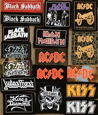 AC/DC IRON MAIDEN GUNS N ROSES KISS JUDAS PRIEST patches old school heavy metal