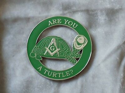 "Masonic 3"" Car Emblem Master Mason Square Compass Turtle Fraternity NEW!"
