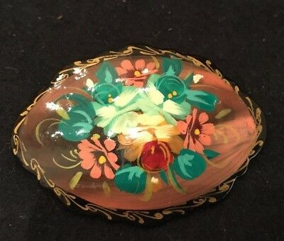 Vintage Handpainted Lacquer Floral Brooch Lapel Pin Russian Artist Signed