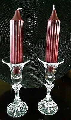 "Mikasa - Pair Of Crystal Candlestick Holders - 6 1/4"" Tall"