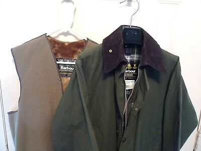 Barbour- A200 Border Waxed Cotton Jacket & Liner- Sage-Made@ Uk-Size 38