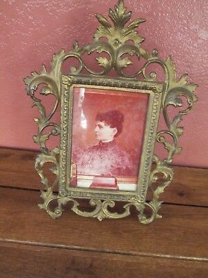 Antique Vintage Decorative Cast Metal Picture Frame with Stand on Back