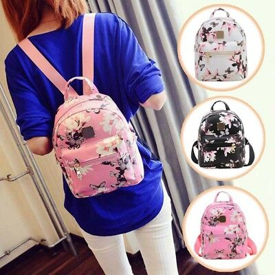 Flower Daffodils Women Girls Leather Backpacks Mini Rucksack Handbags School Bag