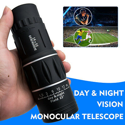 16X52 Monocular Spotting Spotter Bird Watching Telescope Pocket Golf Sport Scope
