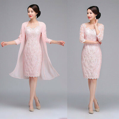 Cheap Elegant Mother Of the Bride Dresses Gowns 3/4 Sleeves Light Pink Jacket