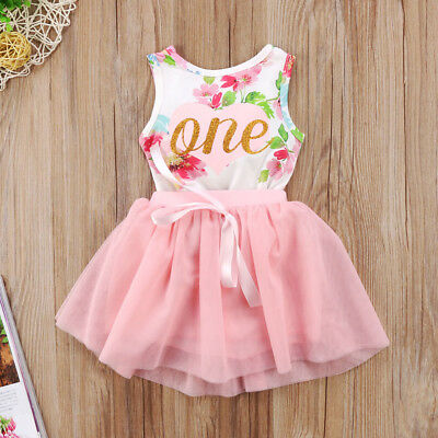 UK Stock Newborn Baby Girls Summer Flower Romper Tulle Tutu Dress Outfits Set