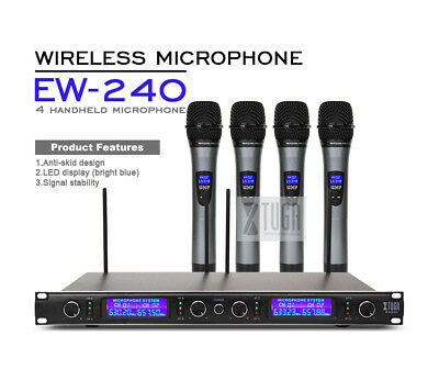 XTUGA Top Quality EW240 4 Channel Wireless Microphones System UHF Karaoke System