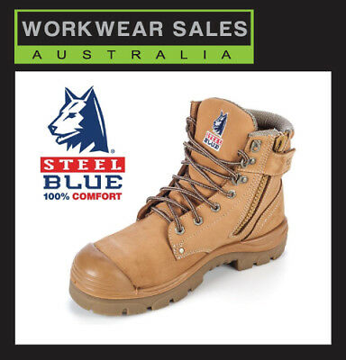 Steel Blue Argyle Zip 332152 Work Boots. Wheat Steel Toe Bump Cap. Free Delivery
