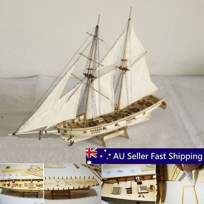 DIY Scale 1:100 Wooden Small Sailboat Ship Kit Home Model Decoration Boat Gift