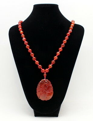 Fine Vintage Chinese Carved Carnelian Pendant & Bead Necklace 94.3 Grams
