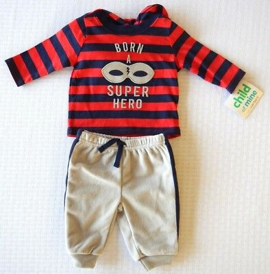 Carters Child of Mine Infant Baby Toddler Boys Superhero 2 Piece Set