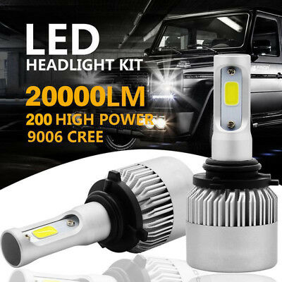 9006 HB4 200W 20000LM 6500K LED Bulb Headlight Kit High Low Beam Light COB Lamps