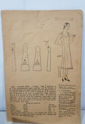 Antique sewing pattern ladies slip Art decor era