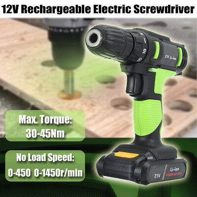 21V Electric Screwdriver Cordless Drill Rechargeable Li-Battery Power Tool Set
